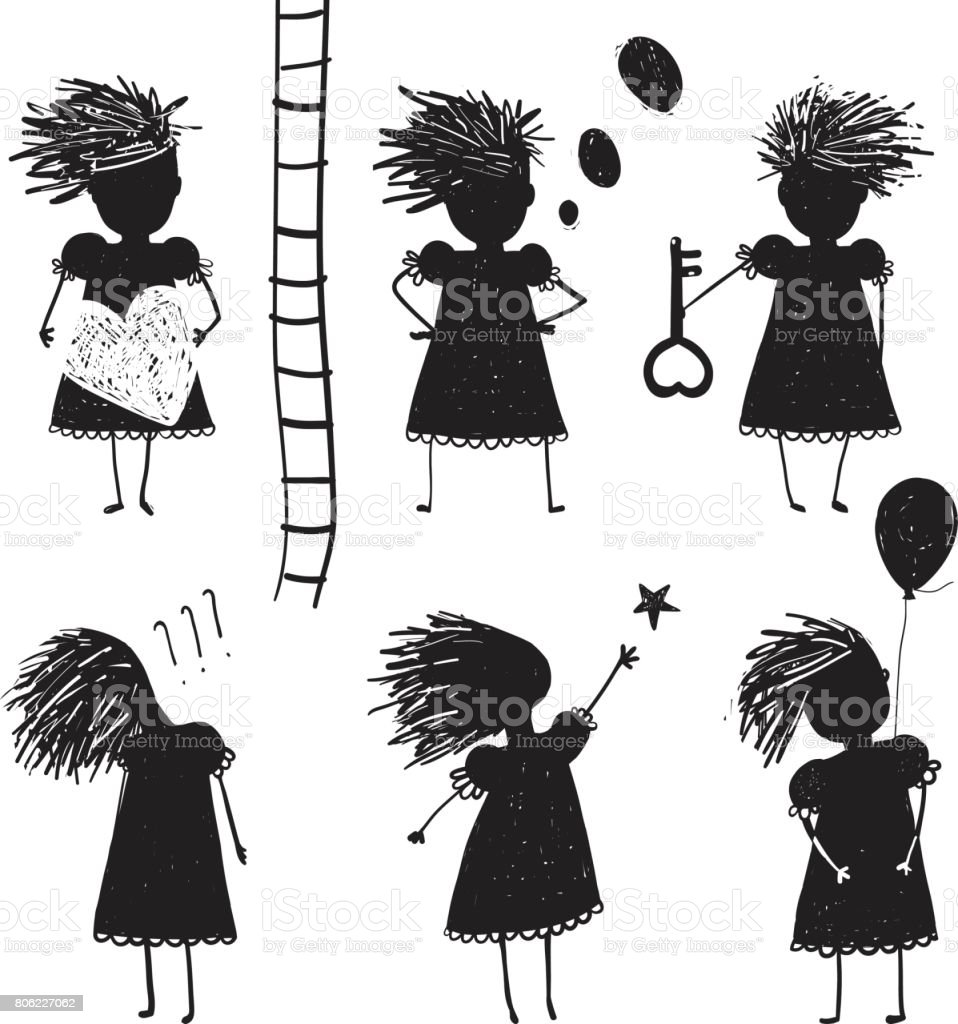 Girl Silhouette Character Traits Clip Art Collection vector art illustration