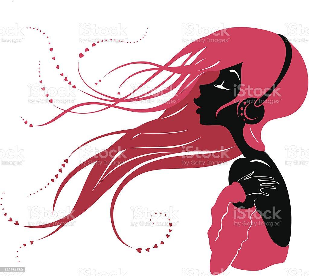 girl with headphones clip art