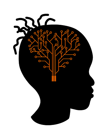 Girl silhouette with a brain printed circuit