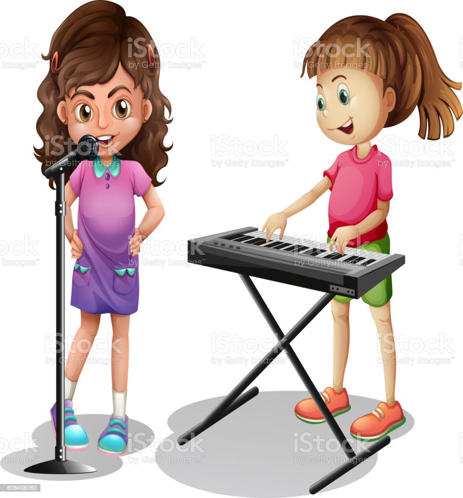 Girl Singing And Girl Playing Electronic Piano Stock