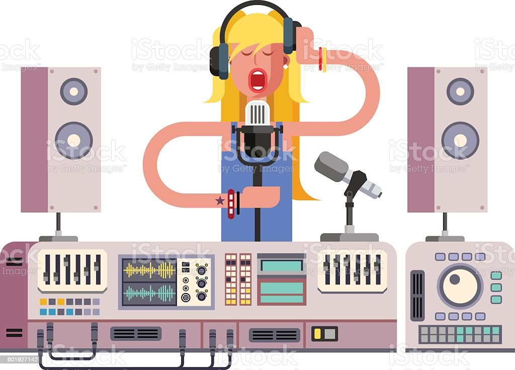 Girl singing in sound recording studio vector art illustration