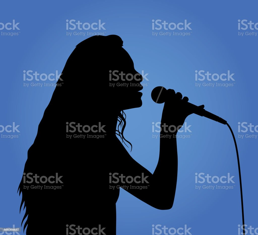 Girl Singing Silhouette vector art illustration