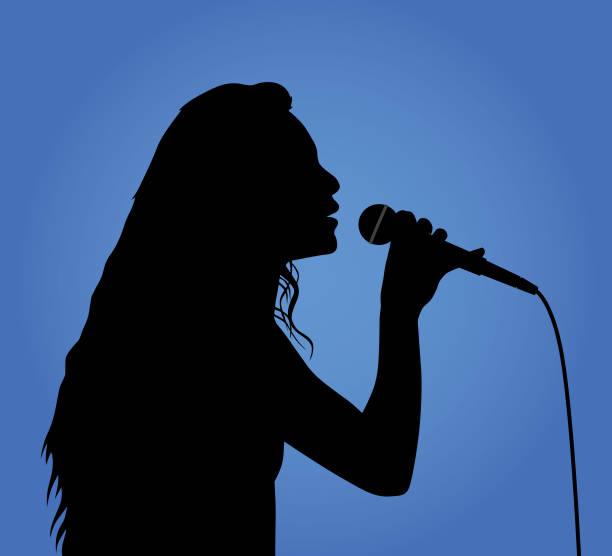 stockillustraties, clipart, cartoons en iconen met meisje zingen silhouet - zingen