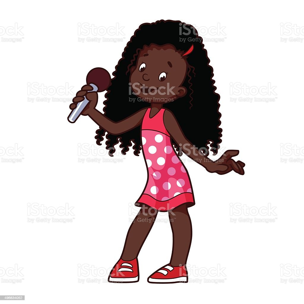 Girl singing with microphone. vector art illustration