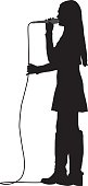 Vector silhouette of a girl wearing a skirt and boots singing with a microphone.