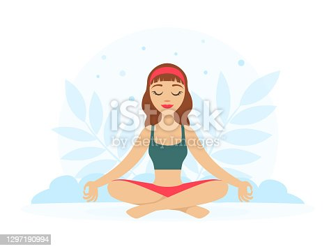 Girl Sitting and Meditating in Yoga Lotus Position with Floral Scenery Vector Illustration