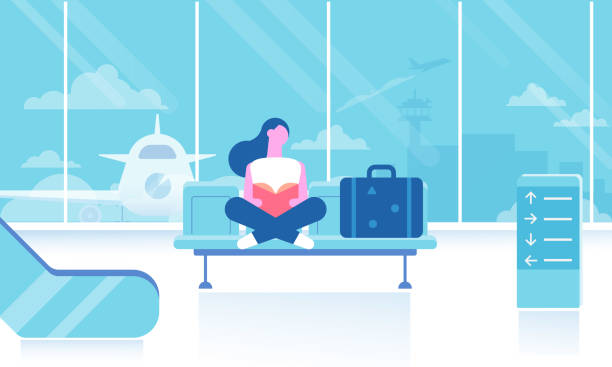 Girl sitting and reading book in airport terminal. Travel concept. Tourist, passenger. Flat vector set. airport stock illustrations