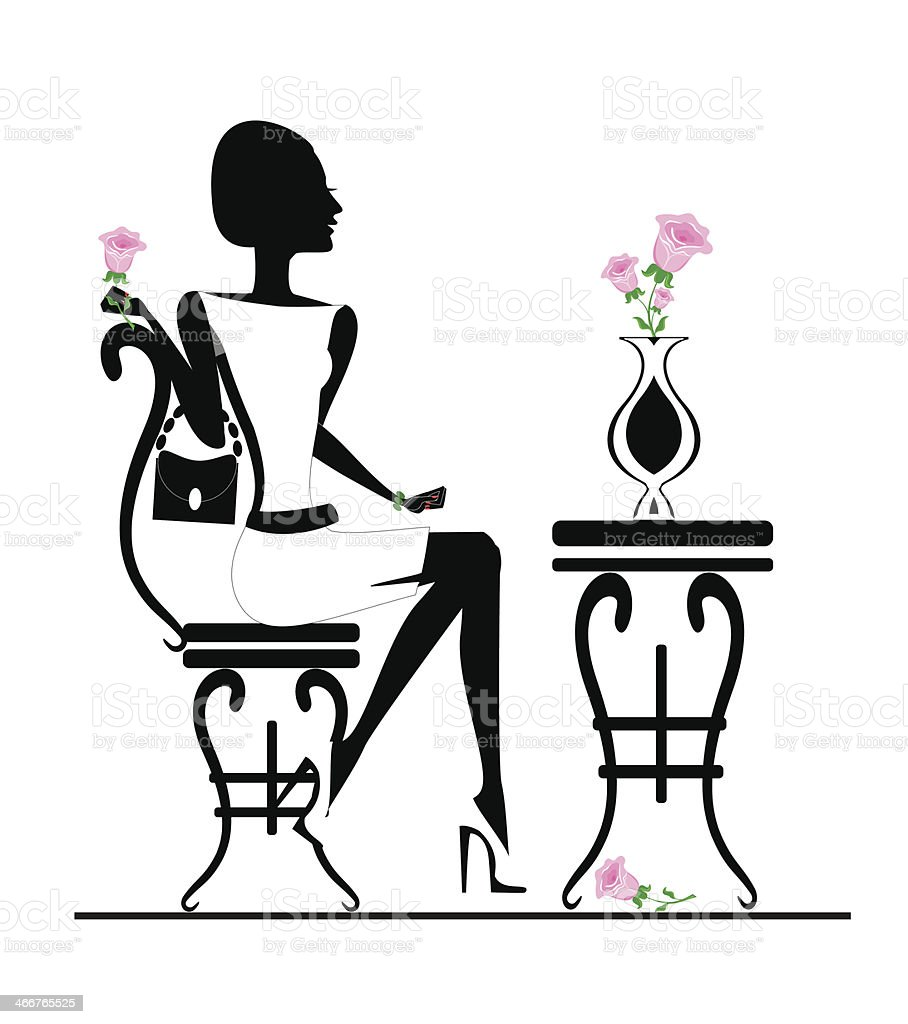Cool Girl Sitting At A Table In A Cafe Stock Illustration Machost Co Dining Chair Design Ideas Machostcouk