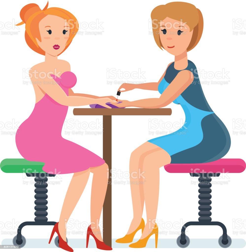 Mädchen Sitzen An Der Rezeption Mit Spezialisten Im Nagel Service ...