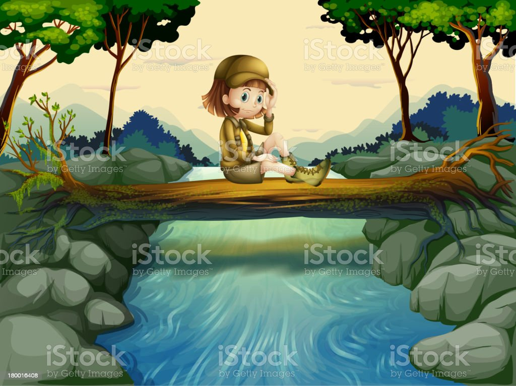 girl sitting at the wood royalty-free stock vector art