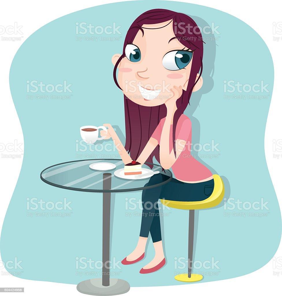 Madchen Sitzt Trinkt Kaffee Und Kuchen Stock Vektor Art Und Mehr