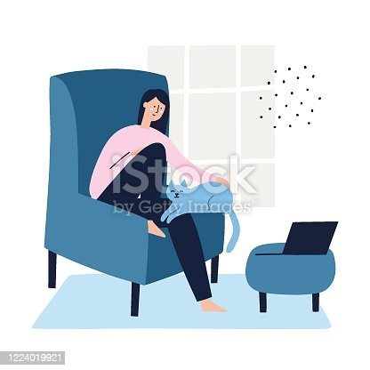 Girl sitting in an armchair with a cat on her arms and a laptop infront of her. Freelance, work at home concept. Hand drawn flat vector illustration.