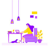 Girl sitting in armchair working on laptop at table freelance work at home. Vector illustration in cartoon style