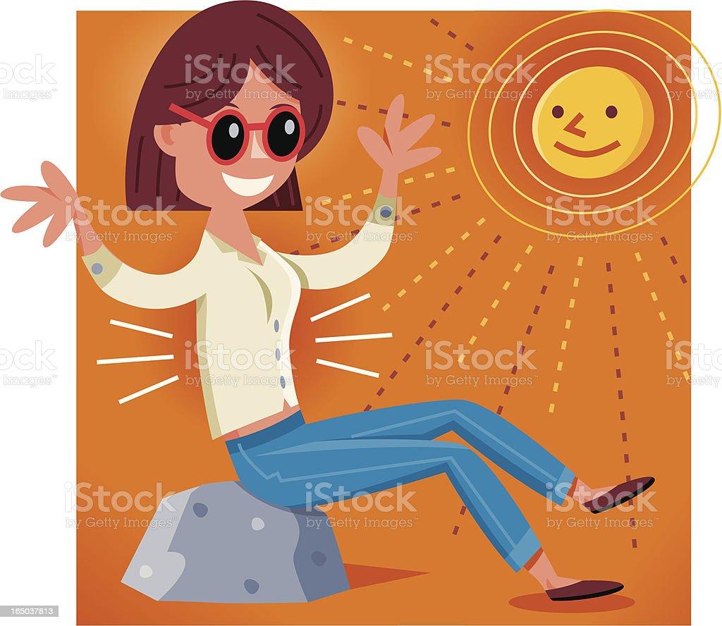 Girl Sitting in the Sun vector art illustration
