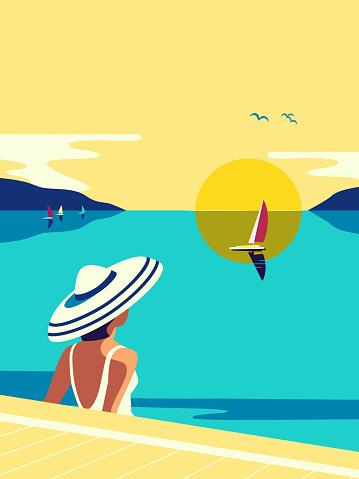 Girl sitting in water enjoys seaside sunset vector