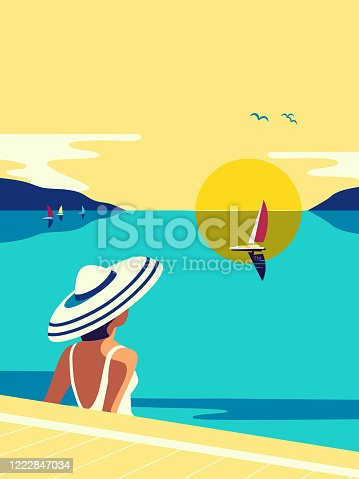 Girl sitting in water enjoys seaside sunset flat color vector. Sea scenic view hand drawn pop art retro style. Holiday vacation season travel leisure cartoon. Tourist trip rest background illustration