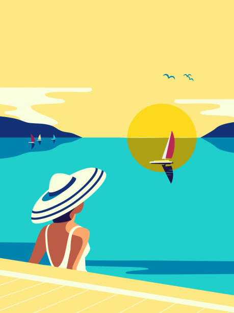 Girl sitting in water enjoys seaside sunset vector Girl sitting in water enjoys seaside sunset flat color vector. Sea scenic view hand drawn pop art retro style. Holiday vacation season travel leisure cartoon. Tourist trip rest background illustration seyahat noktaları illustrationsları stock illustrations