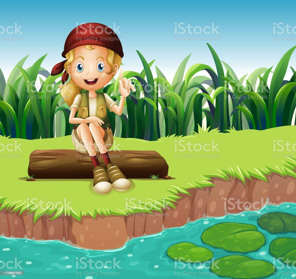 여자아이 앉아 목재 강을 royalty-free 여자아이 앉아 목재 강을 강에 대한 스톡 벡터 아트 및 기타 이미지