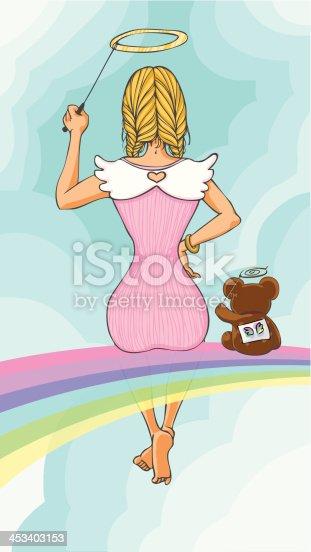 istock Girl sitting on rainbow 453403153