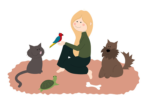 Girl sitting on the carpet with her pets