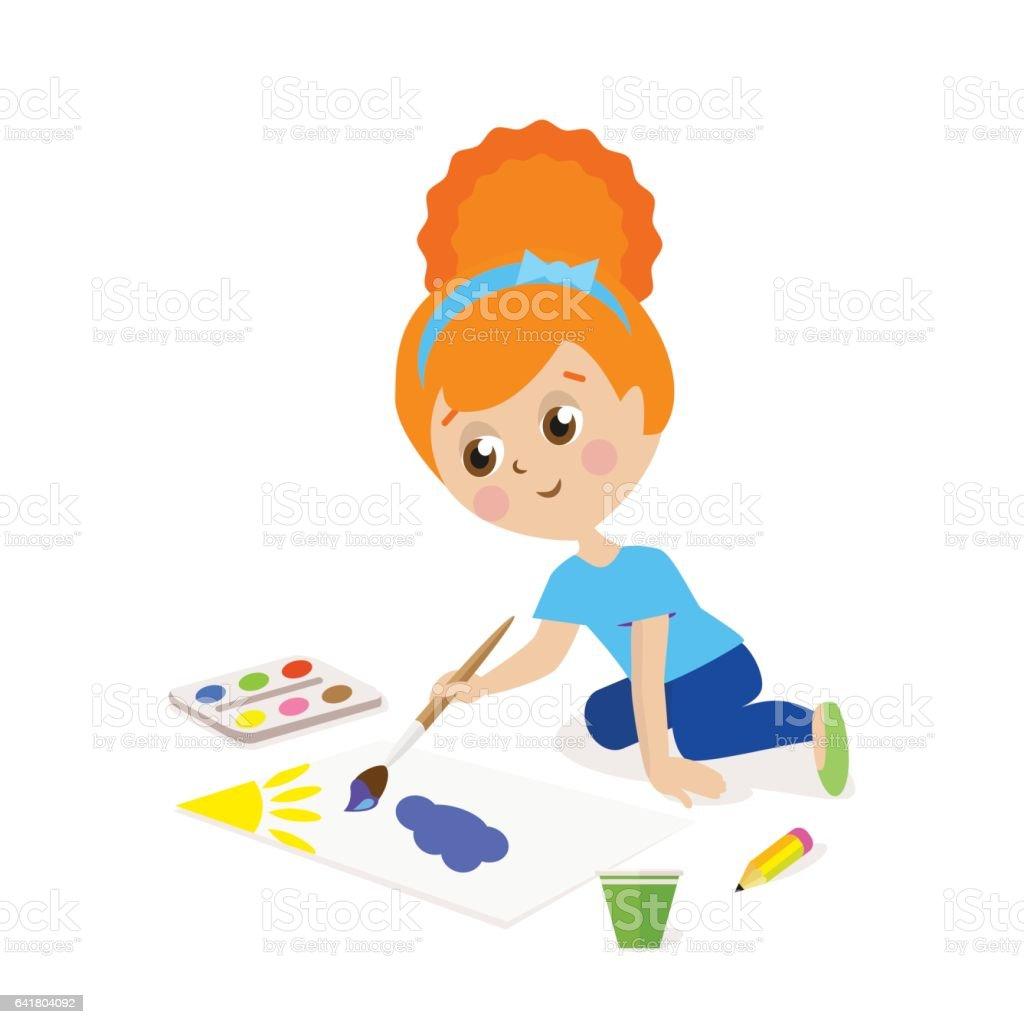 üstünde Belgili Tanımlık Döşeme Ve Boya Bir Resim çizmek Oturan Kız