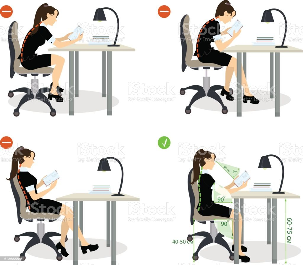 girl Sitting posture set. girl Sitting posture set. Right and wrong positions. Healthy lifestyle. Accuracy stock vector