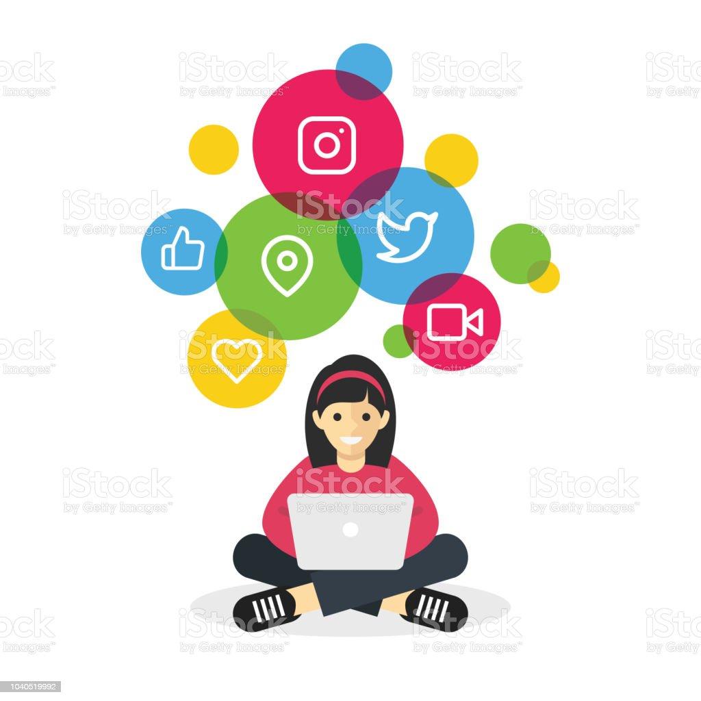 Girl sitting with laptop browsing internet social media vector art illustration