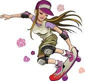 A girl skater doing a trick