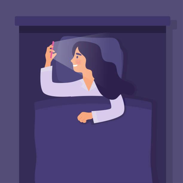 ガール睡眠保持電話 - スマホ ベッド点のイラスト素材/クリップアート素材/マンガ素材/アイコン素材