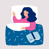 Woman sleeping at night in her bed with open book. Vector illustration.