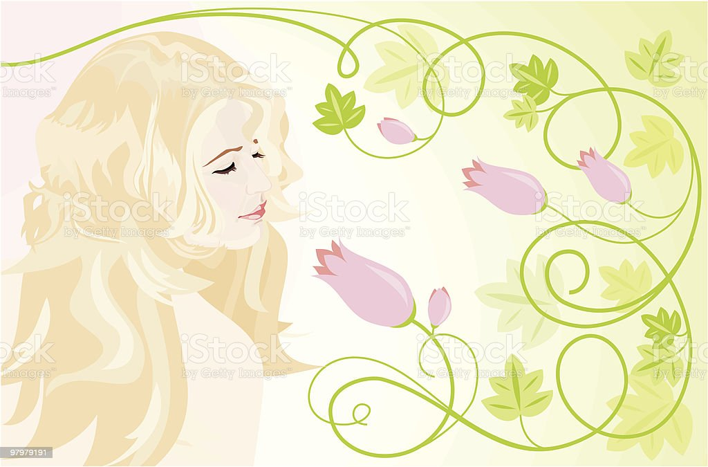girl smell pink flower royalty-free girl smell pink flower stock vector art & more images of adult