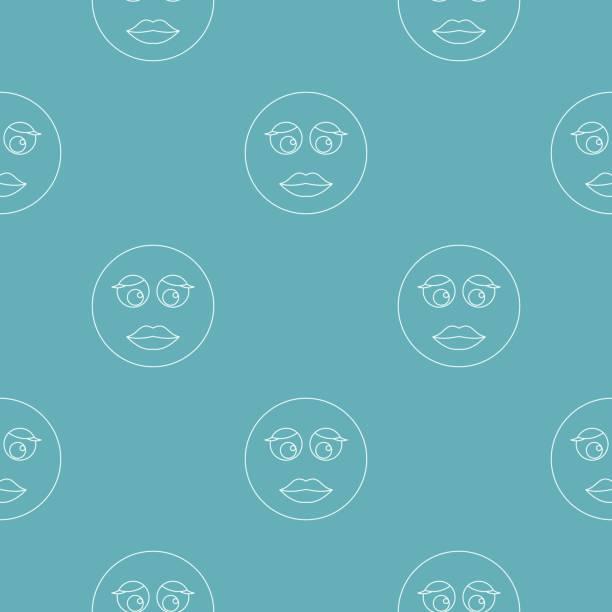 illustrazioni stock, clip art, cartoni animati e icone di tendenza di girl smile pattern vector seamless - love word