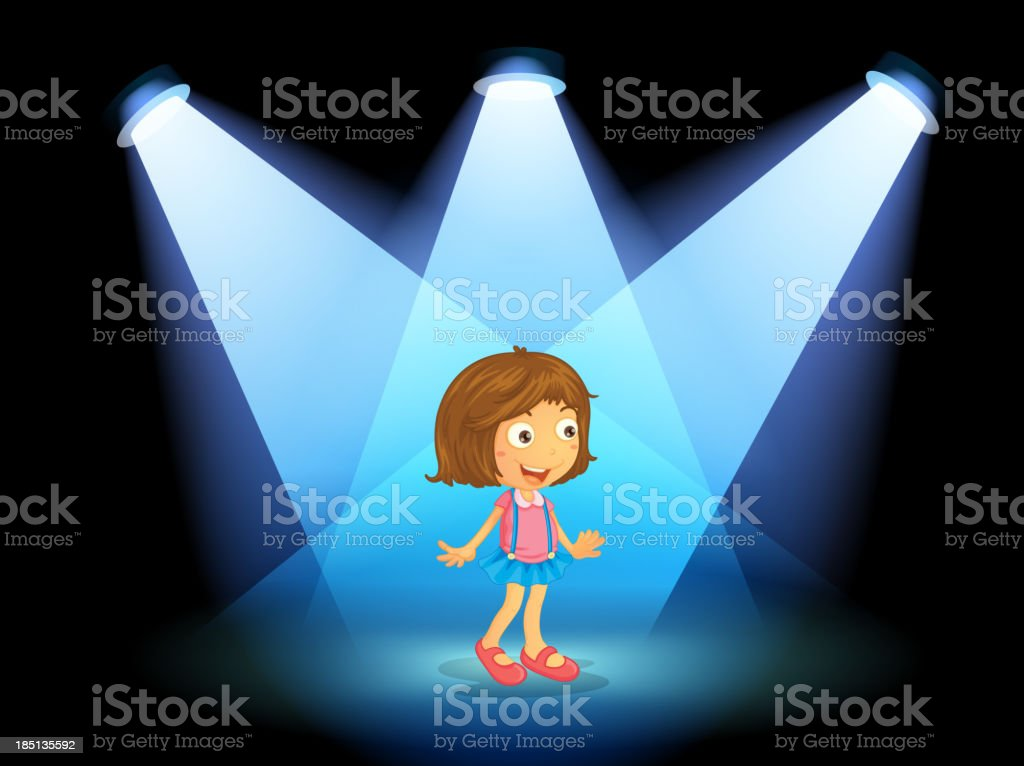 girl smiling at the center of stage royalty-free stock vector art