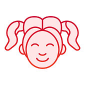 Girl smiling face flat icon. Woman smile red icons in trendy flat style. Happy young girl gradient style design, designed for web and app. Eps 10