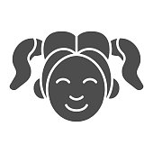 Girl smiling face solid icon. Woman smile vector illustration isolated on white. Happy young girl glyph style design, designed for web and app. Eps 10