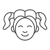 Girl smiling face thin line icon. Woman smile vector illustration isolated on white. Happy young girl outline style design, designed for web and app. Eps 10