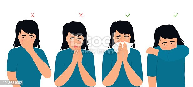 Girl sneezes and coughs right and wrong. The symptoms of colds and flu. Respiratory disease. Runny nose in a child.