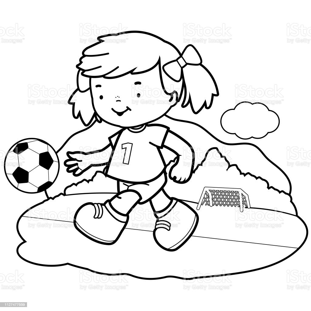 Girl Soccer Player Vector Black And White Coloring Book Page ...