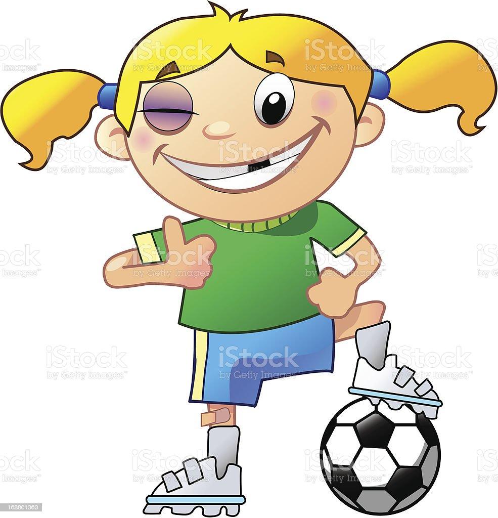 Girl Soccer Player vector art illustration