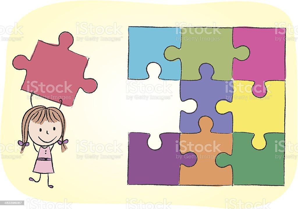 Fille r soudre les casset te cliparts vectoriels et plus - Puzzle dessin ...