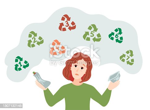 istock A girl sorts plastic garbage. Sorting plastic waste for recycling. Categories of plastic types. Types of plastic marking. Codes for recycling. 1307132145