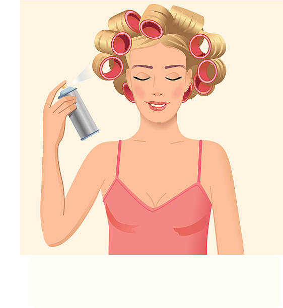 girl spraying her hair - prom fashion stock illustrations, clip art, cartoons, & icons
