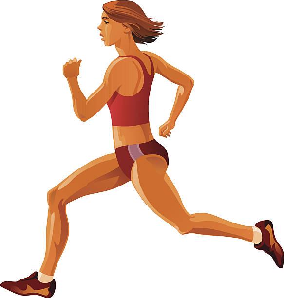 mädchen-sprinter - langstreckenlauf stock-grafiken, -clipart, -cartoons und -symbole