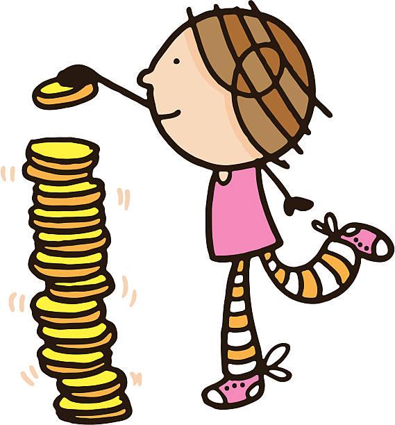 Girl stacking a large number of coins vektorkonstillustration