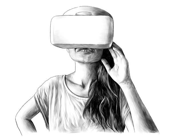 girl standing and smiling in virtual reality glasses – artystyczna grafika wektorowa