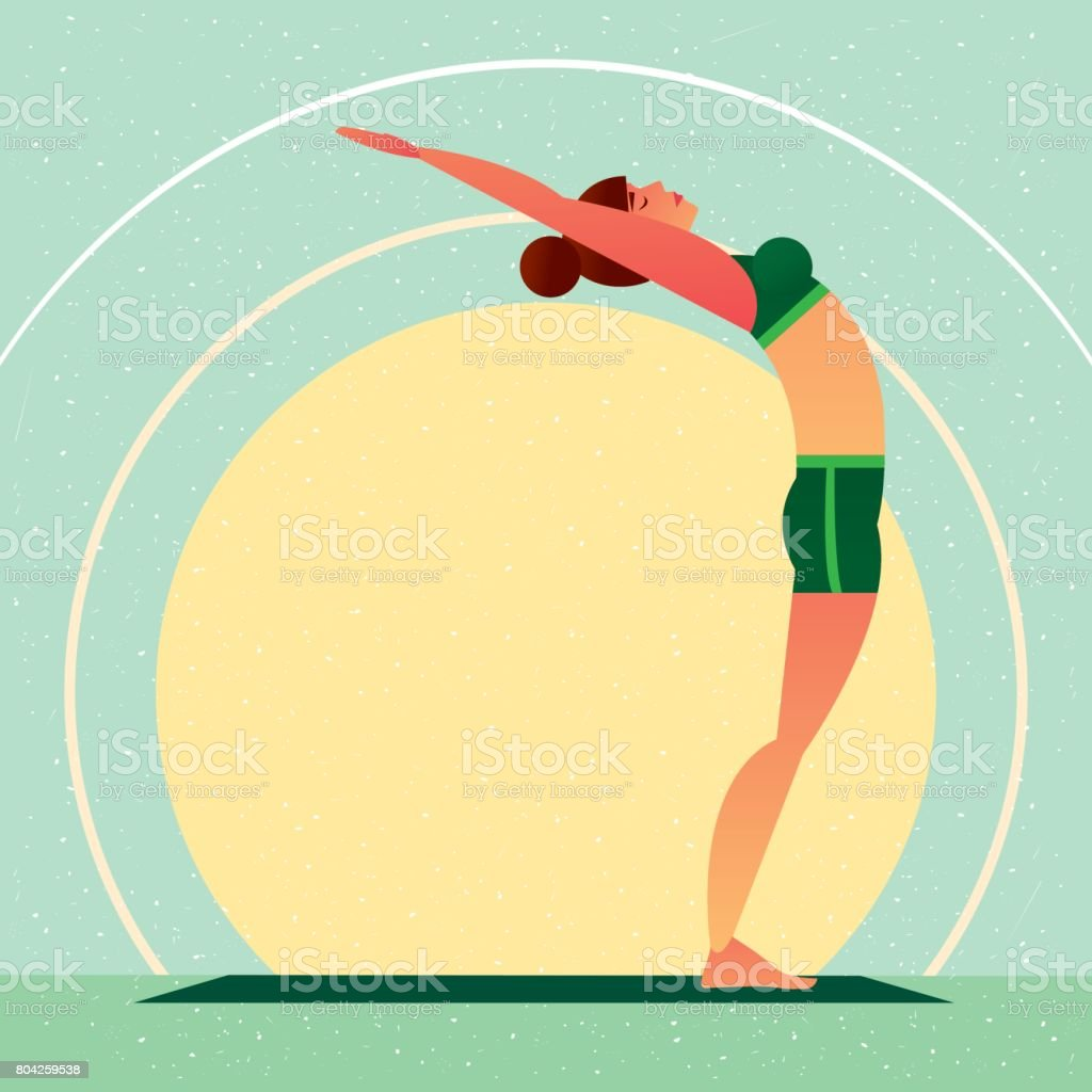 Girl standing in the Yoga Upward Tree Pose vector art illustration