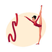 Girl standing in vertical leg split, rhythmic gymnastics with ribbon