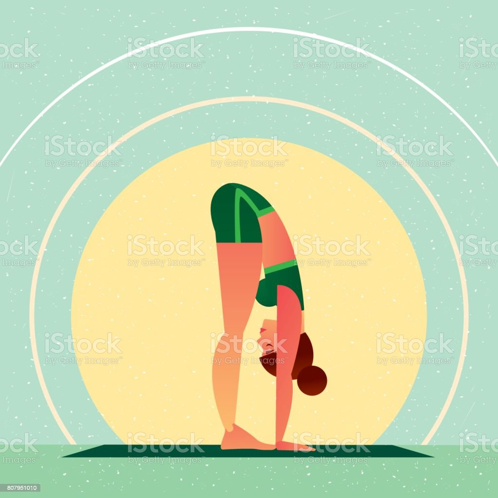 Girl standing in Yoga Standing Forward Bend Pose vector art illustration