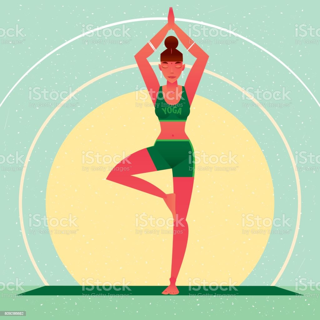 Girl standing in Yoga Tree Pose or Vrikshasana vector art illustration