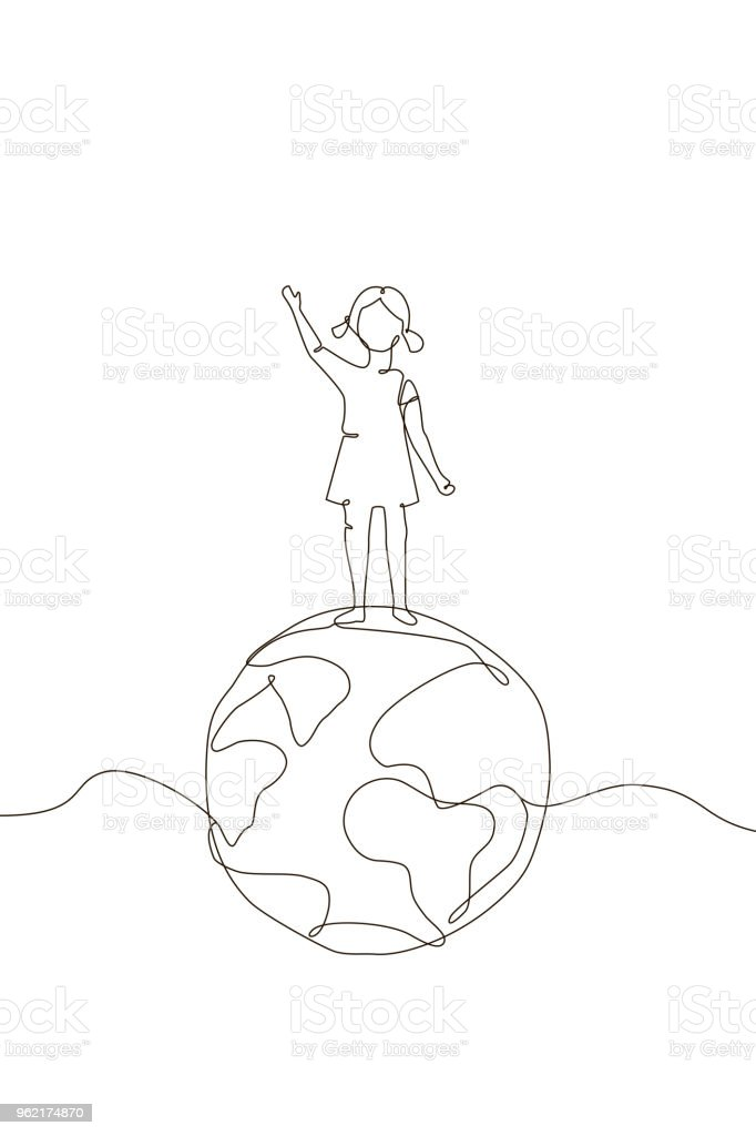 Chica en un globo - ilustración de estilo de diseño de una línea ilustración de chica en un globo ilustración de estilo de diseño de una línea y más vectores libres de derechos de blanco - color libre de derechos